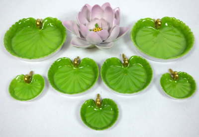 2 Sets Herend Lily Pad Dishes (3 ea)No. 9135 & 1 Herend Water Lily Figurine 9134