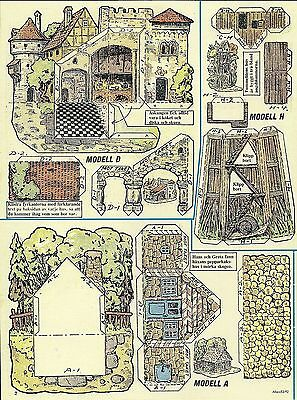 Paper Play House Cut Outs from Sweden Castle Court Farmhouse Garden Gazebo