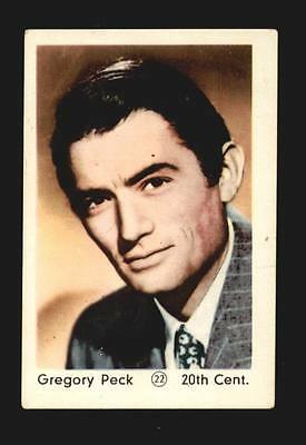 Gregory Peck card 22 from the 52 Maple Leaf Film Stars Series Printed in Holland