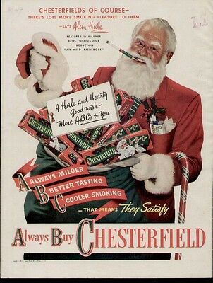 1947 Chesterfield ad with Movie Star Alan Hale playing Santa Clauss