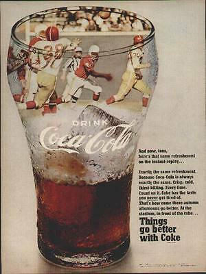 Coca Cola ad from a 1968 Life Mag (Football Players in a Glass)