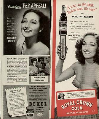 Dorothy Lamour Hollywood Movie Star 2 1944 ads for Royal Crown and Bexel