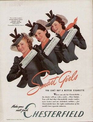 1940 Chesterfield ad with Fashion Models Susann Shaw, Florence Dornin, Dana Dale