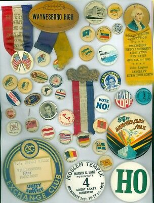 38 Vintage 1890s-1950s Advertising Pinback Buttons - Golden Jubilee Convention