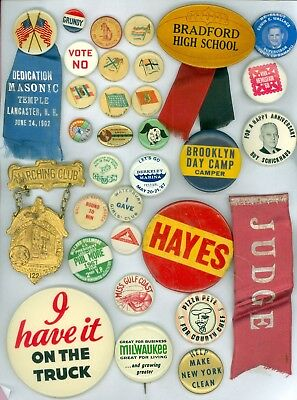 30 Vintage 1890s-1960s Advertising Pinback Buttons 2 w/Ribbons Bradford High Sch