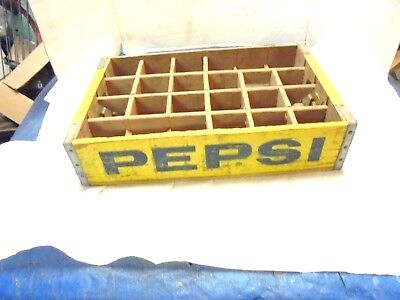 wooden pepsi cola yellow crate 24 bottle divided soda pop yellow decor #2