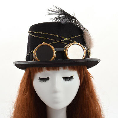 Victorian Steampunk Hat Feathers Glasses Gothic Women Hat Vintage Cosplay