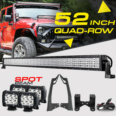 "52"" 3600W Quad-Row 4"" CREE LED Work Light Bar Offroad For Jeep Wrangler JK 07-17"