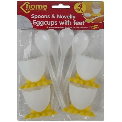 4 Egg Cups & 4 Spoons Novelty Kitchen Eggcups Feet Kitchen Plastic Breakfast