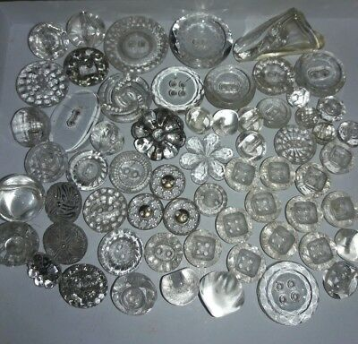 Vintage Clear Glass Buttons **62**