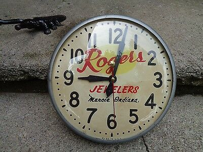 """Vintage Sessions """"rogers Jewelers Muncie, Indiana"""" Hand Painted Clock"""