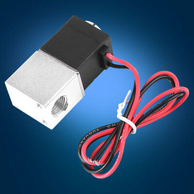"12V DC 1/4"" 2 Way Normally Closed Pneumatic Electric Solenoid Air Valve Switch H"