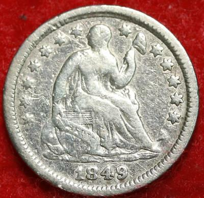 1849 Philadelphia Mint Silver Seated Liberty Half Dime Free S/H