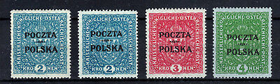 POLAND  1919  KRAKOW ISSUE  Fi 46/48  4 STAMPS  MLH *
