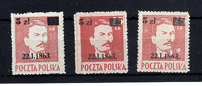 POLAND 1945  Fi 347  3  STAMPS  COLOR  SHADES!