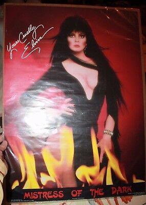 "ELVIRA MISTRESS OF THE DARK 1983 RARE Fan Club Poster 28"" X 20"" Original Strauss"