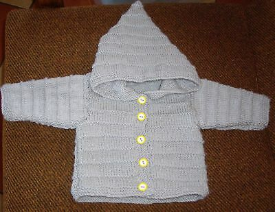 Hoodie  Size 6-12 Months  New Hand Knitted 100% Acrylic