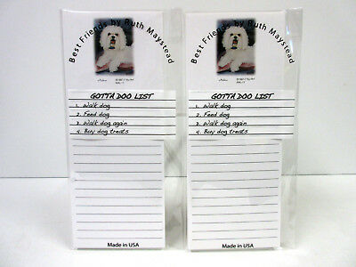 New Maltese Portrait Dog Magnetic Refrigerator List Pad Set 2 Pads by Ruth MAL11
