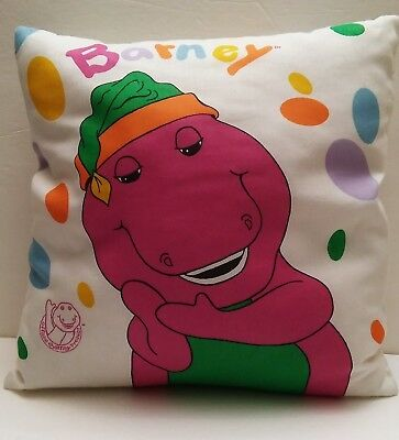 """Vintage 1992 Official Barney Product Purple Dinosaur Throw Bed 16"""" Pillow"""