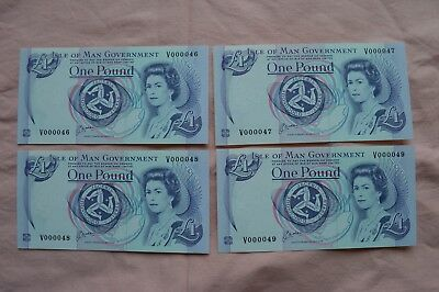 Isle of Man Government One Pound £1 Banknotes x 4 V000046 to V000049 Excellent!!