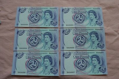 Isle of Man Government One Pound £1 Banknotes x 6 V908952 to V908957 Excellent!!