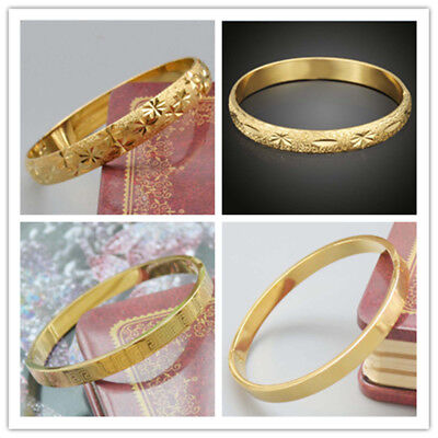 Fashion 18k Yellow Gold Filled  Unisex  Bangle Bracelet  Openable  Party Jewelry
