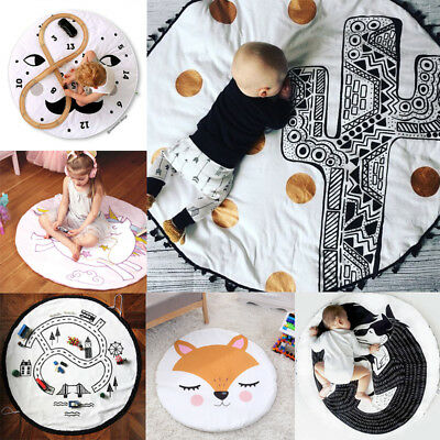 Kids Floor Mats Baby Crawling Blanket Cotton Mat Round Carpet Children Play Rug
