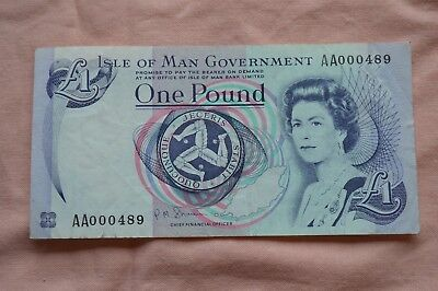 Isle of Man Government One Pound £1 Banknote AA00489 Low number - sad condition