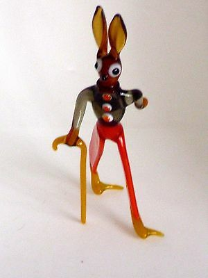 RARE 1950's PIRELLI GLASS WALKING RABBIT WITH ORIGINAL LABEL 12cm TALL