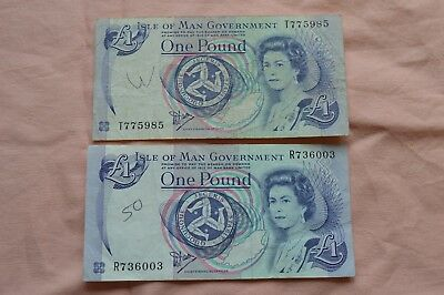 Isle of Man Government 2 x One Pound £1 Banknotes T775985 & R736003 ROUGH!