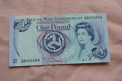 Isle of Man Government One Pound £1 Banknote AA055556 nice serial, sad condition