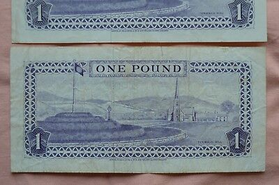 Isle of Man Government 2 x One Pound £1 Banknotes J344968 & P584734 Roughish!