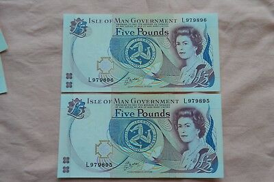 Isle of Man Government 2 x Five Pound £5 Banknotes L979895 & L979896 very nice!!