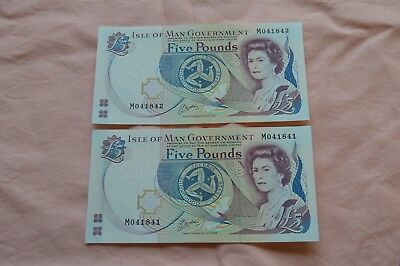 Isle of Man Government 2 x Five Pound £5 Banknotes M041841 & M041842 very nice!!