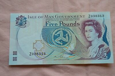 Isle of Man Government Five Pound £5 Banknote Z038313. Replacement note - dirty!