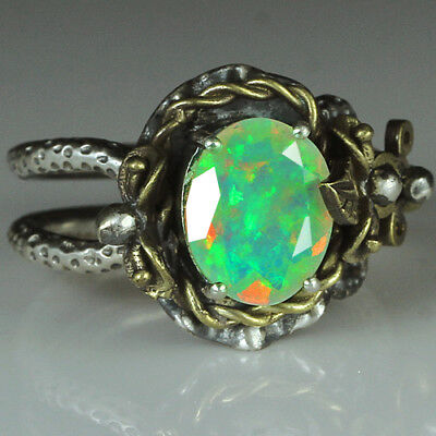 34.2CT Natural 925 Silver Oval Ethiopian White Opal Vintage Ring COLY32