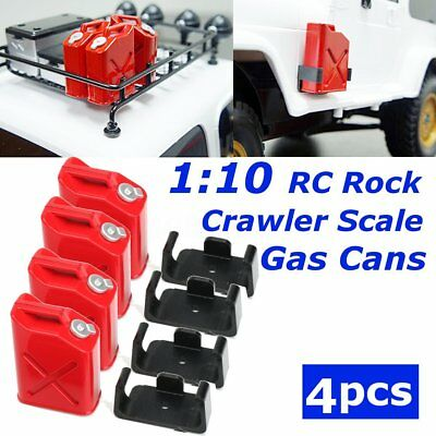 4Pcs 2 Pairs 1:10 RC Rock Crawler Truck Cars Scale Accessory Gas Cans in Red