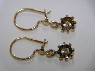 Vintage Earrings. 14k Yellow Gold w/ Clear Quartz stones. From Finland?