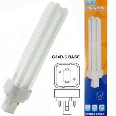 20x Energetic 1248 Energy Saving G24d-3 26w Cool White 4200k PLC Light Bulb