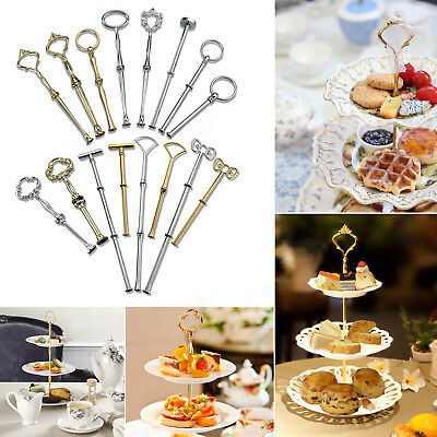 3 Tier Silver Cake Plate Stand Handle Fittings Metal Fruit Food Server Display