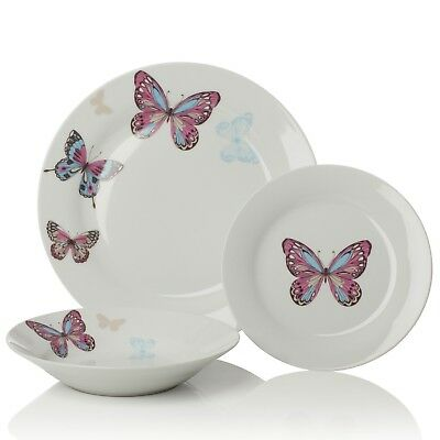12pc Mariposa Purple / White Porcelain Dinner Set