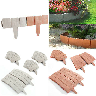 10/ 20/ 30PCS Grey Cobbled Stone Effect Plastic Garden Lawn Edging Plant Border