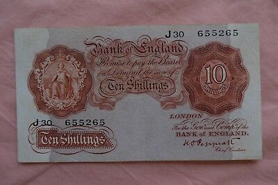 Bank of England Ten Shilling 10/- Banknotes PEPPIATT J30 655265 distressed note!