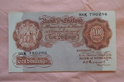 Bank of England Ten Shilling 10/- Banknotes PEPPIATT 98K 790286 bit dirty, sadly