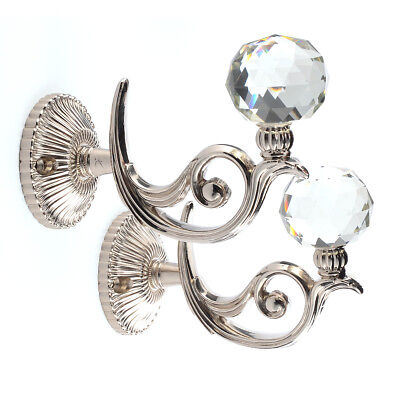 2 x Alloy Silver Crystal Curtain Hold Backs Tie Back Wall Hook Holder Hanger
