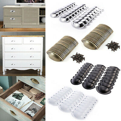 24pcs Antique Retro Shell Kitchen Cupboard Door Cabinet Knob Drawer Pull Handle