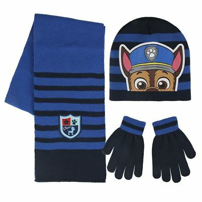 Paw Patrol Chase Kids Winter Set - Beanie Hat, Scarf & Gloves - Blue One Size