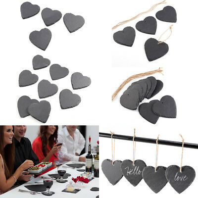 Love Heart Hand Cut Natural Slate Stone Drink Coaster Place Mats Hanging Tag
