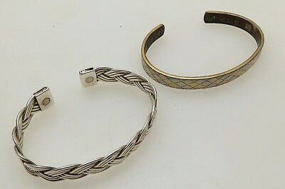 Two Magnetic Bangle Style Bracelets - Copper & Silver Plated