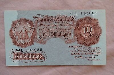 Bank of England Ten Shilling 10/- Banknotes PEPPIATT 21L 195085 bit dirty, sadly